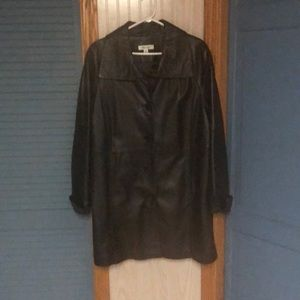 Coldwater Creek brown leather coat